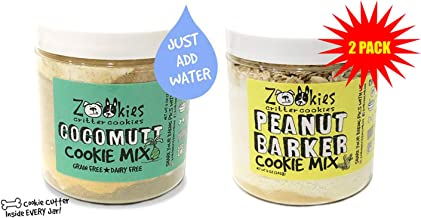 Zookies Cookies Bake at Home Dog Treat Mix 100% All-Natural Organic Pet Biscuits Peanut Butter & Coconut Variety 2 Pack - Peanut Barker/Cocomutt- As Seen on Shark Tank