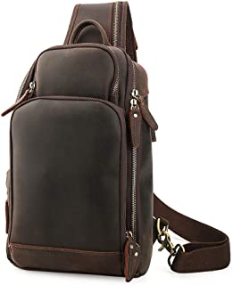 Lannsyne Genuine Leather Sling Bag Chest Bag Crossbody Single Strap Backpack for Men with USB Charging Port