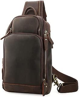 Lannsyne Genuine Leather Sling Bag Chest Bag Crossbody Single Strap Backpack for Men with USB Charging Port …