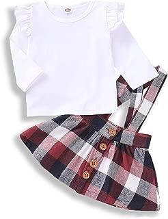 WOSENHK Baby Girls Dress Suspender Skirt Set Ruffles Tops + Plaid Skirt Clothes