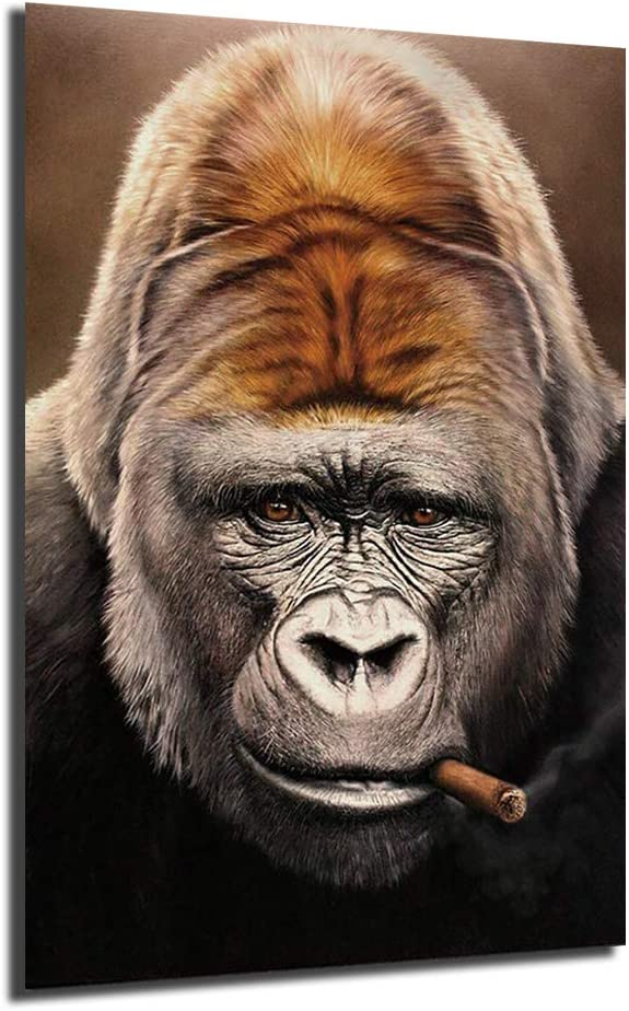 Animals Artwork Gorillas ☆最安値に挑戦 Smoking Portrait 日本正規代理店品 Cigars Canvas Painting