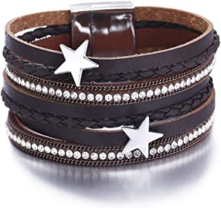 17mile Multi-Layer Leather Bracelet - Braided Wrap Cuff Bangle - with Alloy Magnetic Clasp Handmade Jewelry for Women,Girl Gift