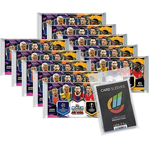 Champions League 2020/21 - Trading Cards Sammel Karten - 10 Booster + 40 Collect-it Hüllen Sleeves