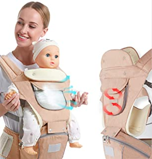 Ergonomic Baby Hip Seat Carrier Baby Waist Stool for Newborn Child Infant Toddler with Cool Air Mesh Windproof Babyhood Comfortable Insert (Khaki)