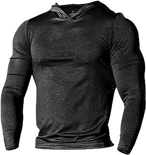 palglg Men's Bodybuilding Tapered Long-Sleeve Slim Fit Sweatshirts Active Hoodies Heather Black S