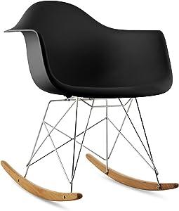 OneConcept Aurel • Chaise à Bascule de Salon • Rocking Chair de Salle à Manger • Design scandinave • Style rétro 70's • Plastique, métal et Bois • Noir