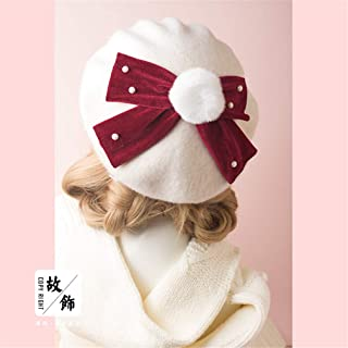67617ecd83b5f Princess Sweet Lolita Berets Autumn And Winter Super Rabbit Ball Pearl  Velvet Bow Beret Japanese Female