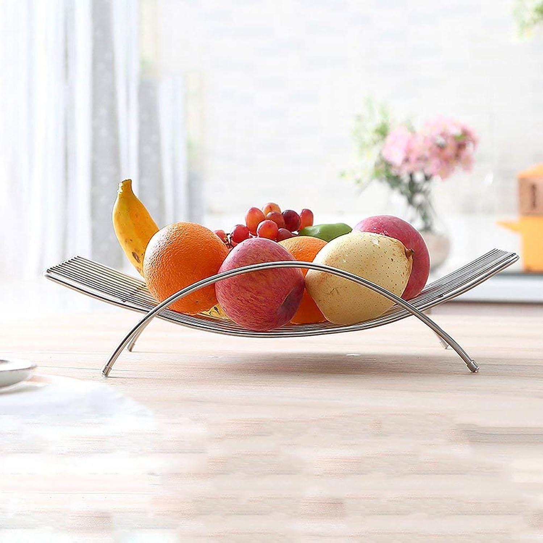 JFFFFWI Panier à Fruits argenté de Grande capacité avec poignée, Panier à Fruits en Treillis ménagers en Acier Inoxydable, Plateau à collations 38,3  25,7  9,2 cm