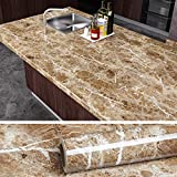 VEELIKE Brown Marble Contact Paper Peel and Stick Countertop Granite Wallpaper for Kitchen Cabinet Vinyl Waterproof Self Adhesive Removable Wall Paper Decorative for Home Decor 15.8'x118'