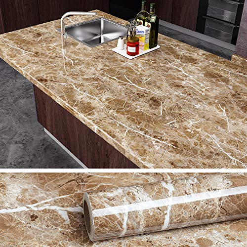VEELIKE Brown Marble Contact Paper Peel and Stick Countertop Granite Wallpaper for Kitchen Cabinet Vinyl Waterproof Self Adhesive Removable Wall Paper Decorative for Home Decor 15.8