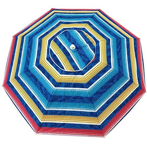 Parasol Sombrilla De Jardín Redonda De 2m Aire Libre para Protector Solar De Rayas De Color Playa/Piscina/Patio UV40 +