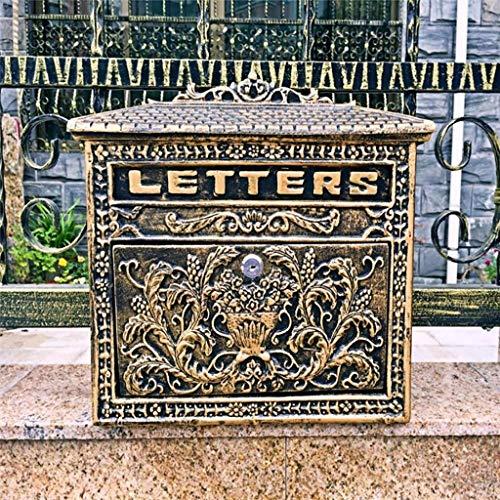 aipipl Abschließbarer Briefkasten Brief Wandkorb Mail Catcher Wetterfester Briefkasten Bronze 12,99 Zoll * 3,93 Zoll * 12,99 Zoll Briefkästen Zubehör American Style