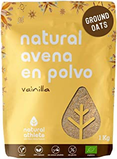 Harina de Avena Sabor Vainilla Natural Athlete, Sin Azúcar, Sin Aditivos, Sin Gluten -1KG