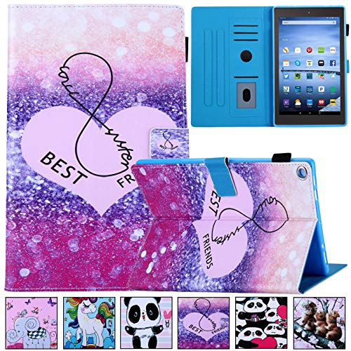 """All-New Amazon Fire HD 10 Case,Artyond Folio PU Leather Case with Auto Wake/Sleep Card Slot Stand Smart Case for All Kindle Fire HD 10 Tablet 10.1"""" (7th/5th, 2017/2015 Release) (Best Friends)"""