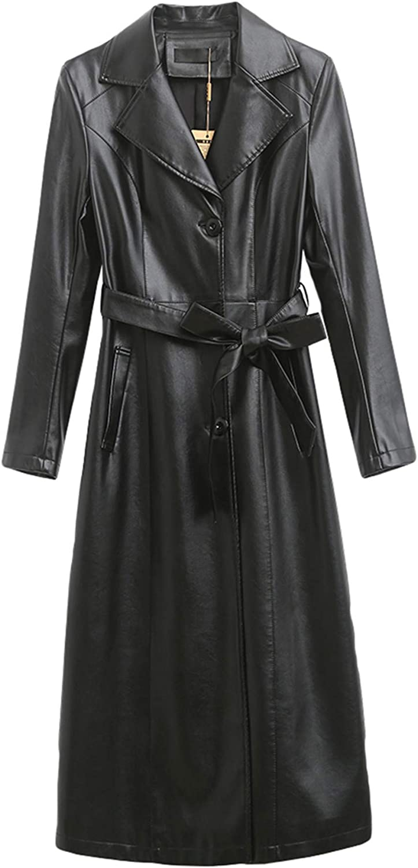 Women's Suit Collar Motorcycle Leather Jacket Windbreaker Warm Long Waterproof Outdoor Trench Coat (Black, 6)