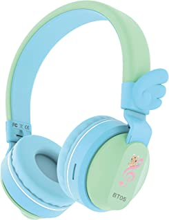 Riwbox BT05 Wings Kids Headphones Wireless Bluetooth Foldable Over Ear Headset with Volume Limited and Mic/TF Card Compatible for iPad/iPhone/Tablet Blue BT05