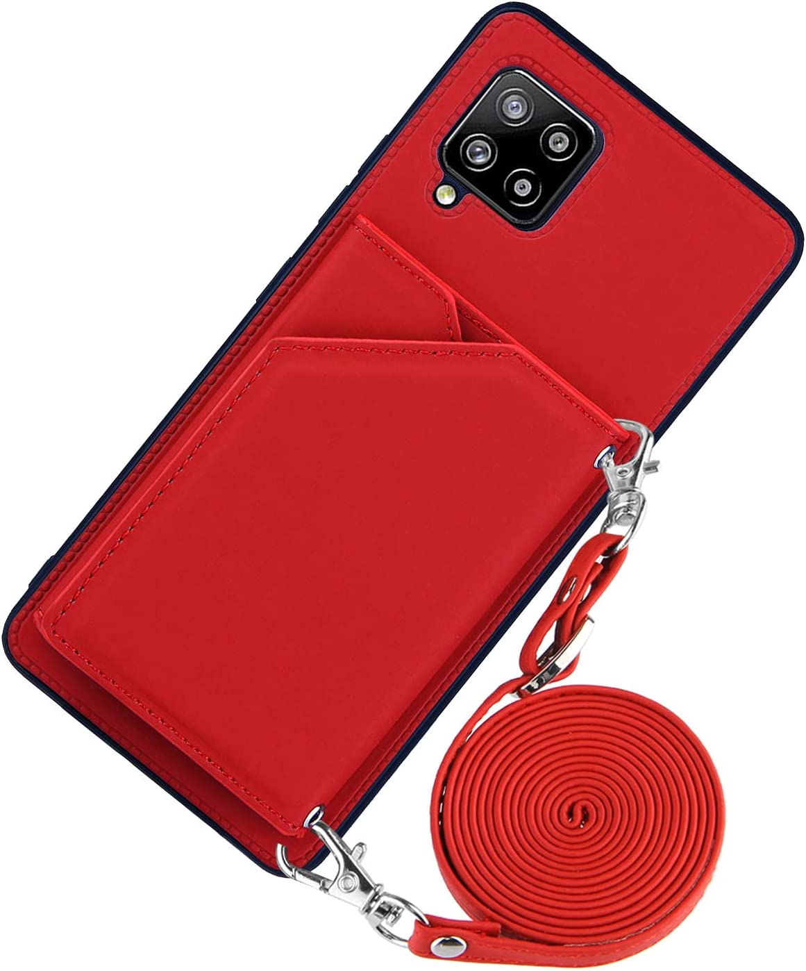 DAMONDY for Samsung A42 Case,Wallet Card Holder Lanyard Neck Crossbody Detachable Strap Protective Square Flip Slim Cover Soft PU Leather Double Magnetic Clasp for Samsung Galaxy A42 -Red