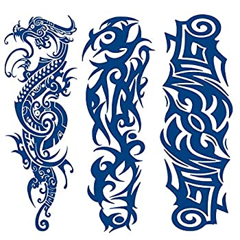 3 Sheets PADOUN Long Last Temporary Tattoos Sleeve 100% Plant-Based Ink Realistic Blue Dragon Totem Tattoos for Adults Women Girls Kids