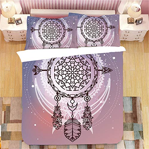 Gzsyb Bed Linen Duvet Set Cover And Pillow Case Microfibre With 1 Quilt Case 2 Pillowcases Case Moon dream catcher 3D Digital Print Three - Piece Bed Linen Double 200x200 cm