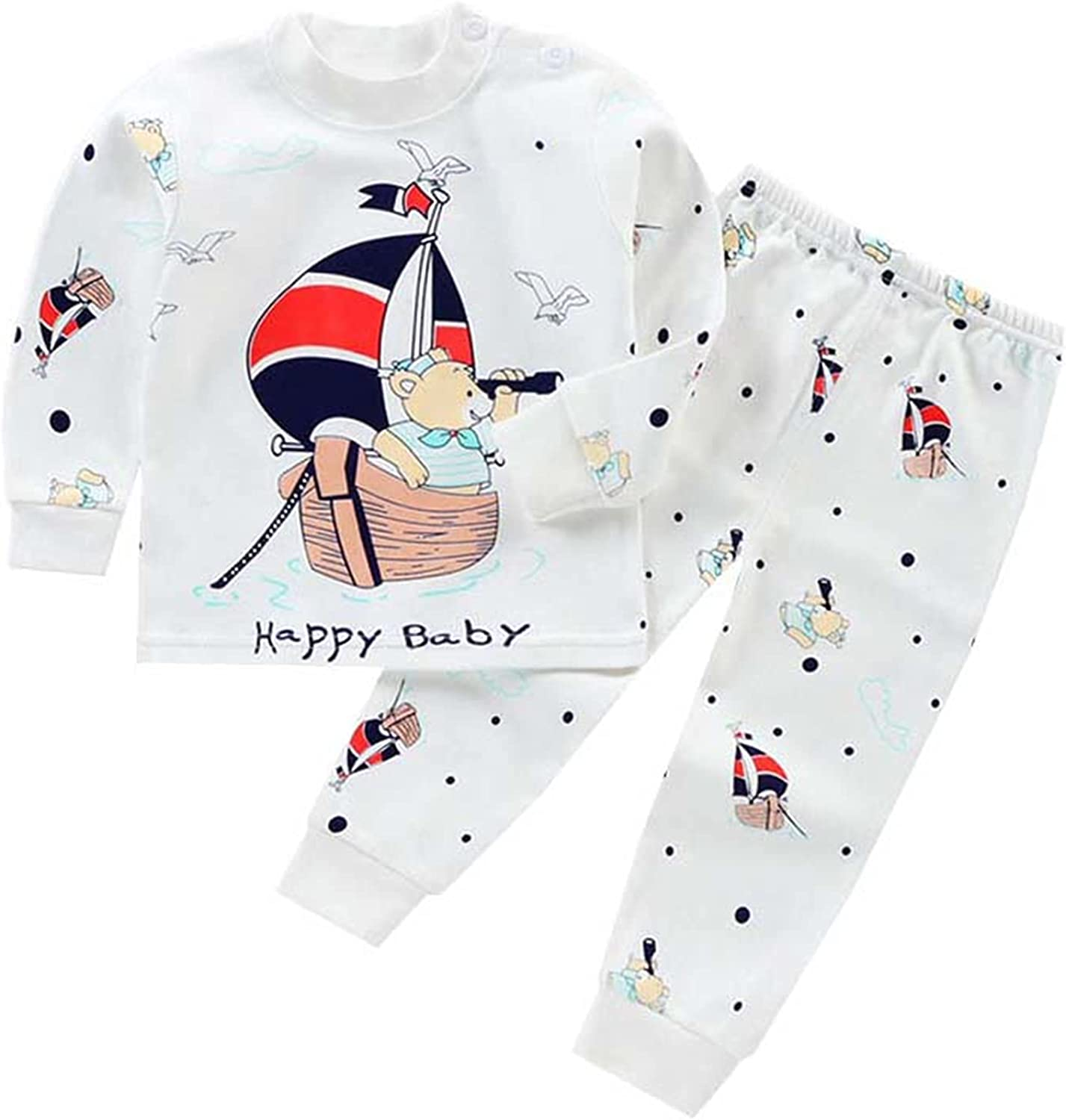 Schbbbta Cute Cartoon 2pcs PJ Sets for Girls, Boys and Toddlers, 6 Months - 8 Years