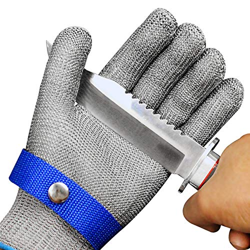 Schwer Cut Resistant Stainless Steel Metal Mesh Chainmail Gloves for Food Handling Meat Cutting Butchers Slicing Work Safety Gloves, (S)