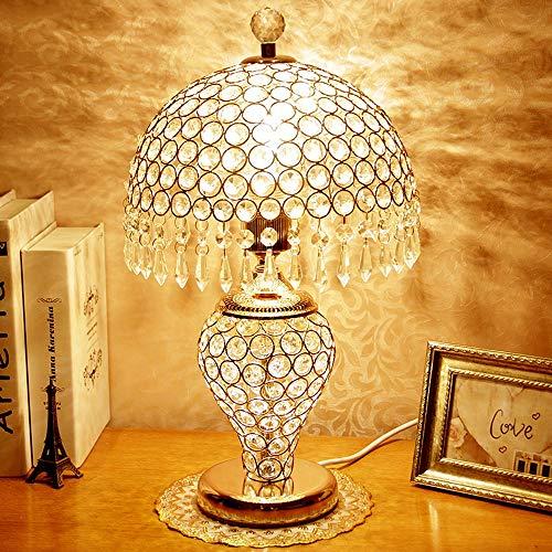 QJUZO Kristall Tischleuchte,Gold Modern Dimmbar Nachttischlampe Tischlampe mit Fernbedienung K9 Crystal Lampenschirm für Wohnzimmer,Schlafzimmer,Esszimmer,Nachttisch,27