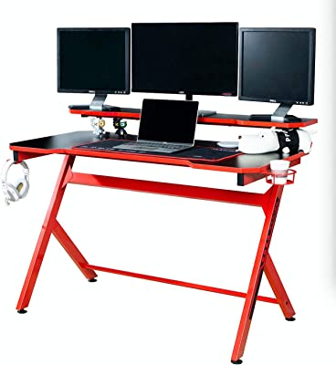 """JJS 48"""" Home Office Gaming Computer Desk with Removable Monitor Stand, R Shaped Large Gamer Workstation Pc Table with Cup Holder Headphone Hook Speaker Storage Free"""