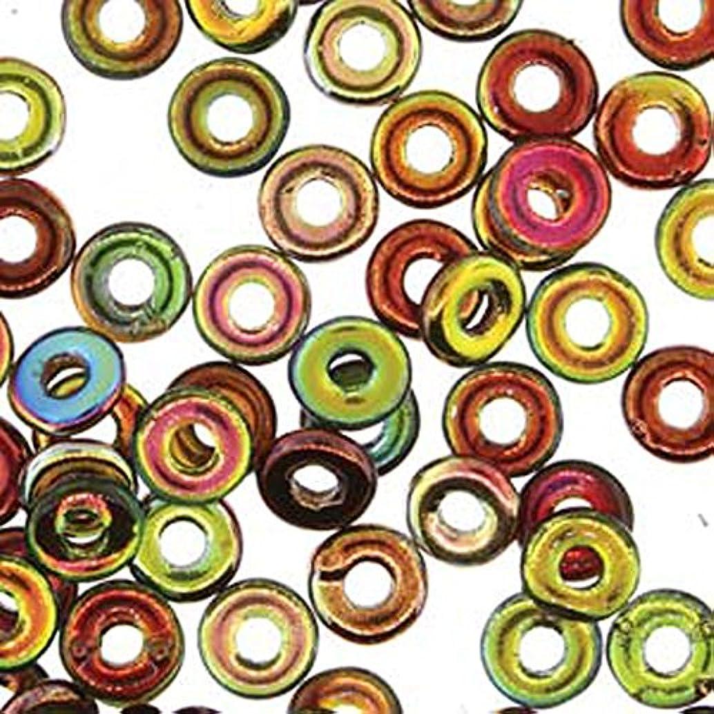 Magic Apple O-beads 3.8x1mm (Czech Glass Mini Flattened Ring) Sold in Approx 8.1 Gram Tube