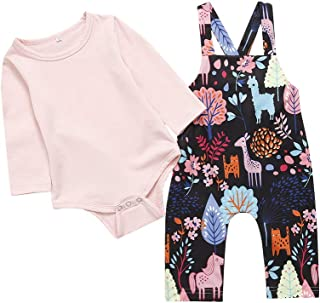 Newborn Infant Baby Girls Long Sleeve Pink Romper Suspenders Pants Outfit Autumn Clothes