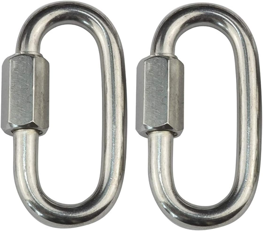 YDSHOLL 2PCS Stainless Steel 304 Quick Snap Hook Lock Ring Chain Rope Connector 5mm 6mm 7mm 8mm Heavy Duty for Climbing Camping Hiking Size : 5x50mm
