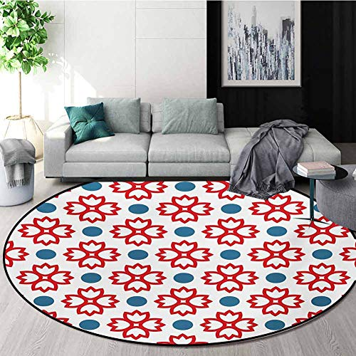 Best Buy! RUGSMAT Floral Small Round Rug Carpet,Abstract European Traditional Polka Dots Symmetrical...