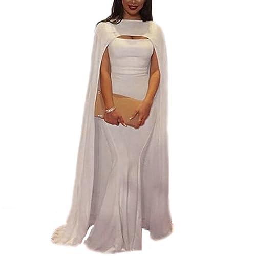 6e1164abf61 Ellenhouse Women s Mermaid Long Formal Gown Prom Evening Dresses with Cape  EL380
