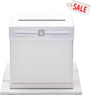 Hayley Cherie - 5 Day Sale Gift Card Box with Rhinestone Slider, Cards Label & 7 Ribbon Colors - White Textured Finish (with Cards Label)