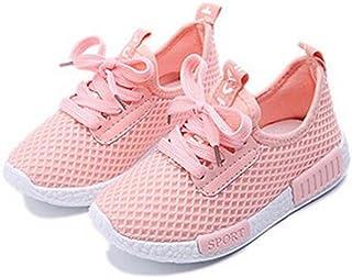 Daclay Enfants Chaussures Garçons Filles Respirant Maille Semelle Souple Running Sport Baskets Noir Rose Blanc 25-36 EU