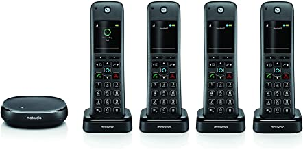 Motorola AXH04 Smart Wireless Home Phone System with Alexa Built-in and Speaker Phone – 4 Cordless Phone Handsets Included