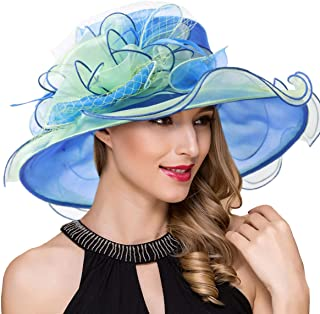 b0f1b0261917f Women Kentucky Derby Church Dress Fascinator Wide Brim Tea Party Wedding  Organza Hats S042b