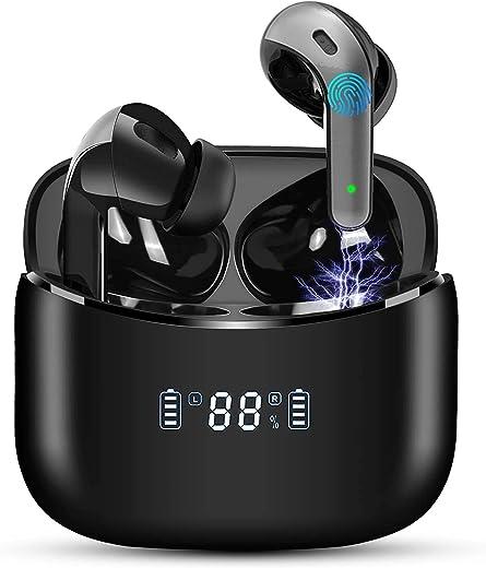 Écouteurs Bluetooth 5 sans Fil Stéréo Oreillette Bluetooth et Écran LCD IPX7 Contrôle Tactile,40H d'Autonomie Boitier Microphones Intégrés, USB-C...