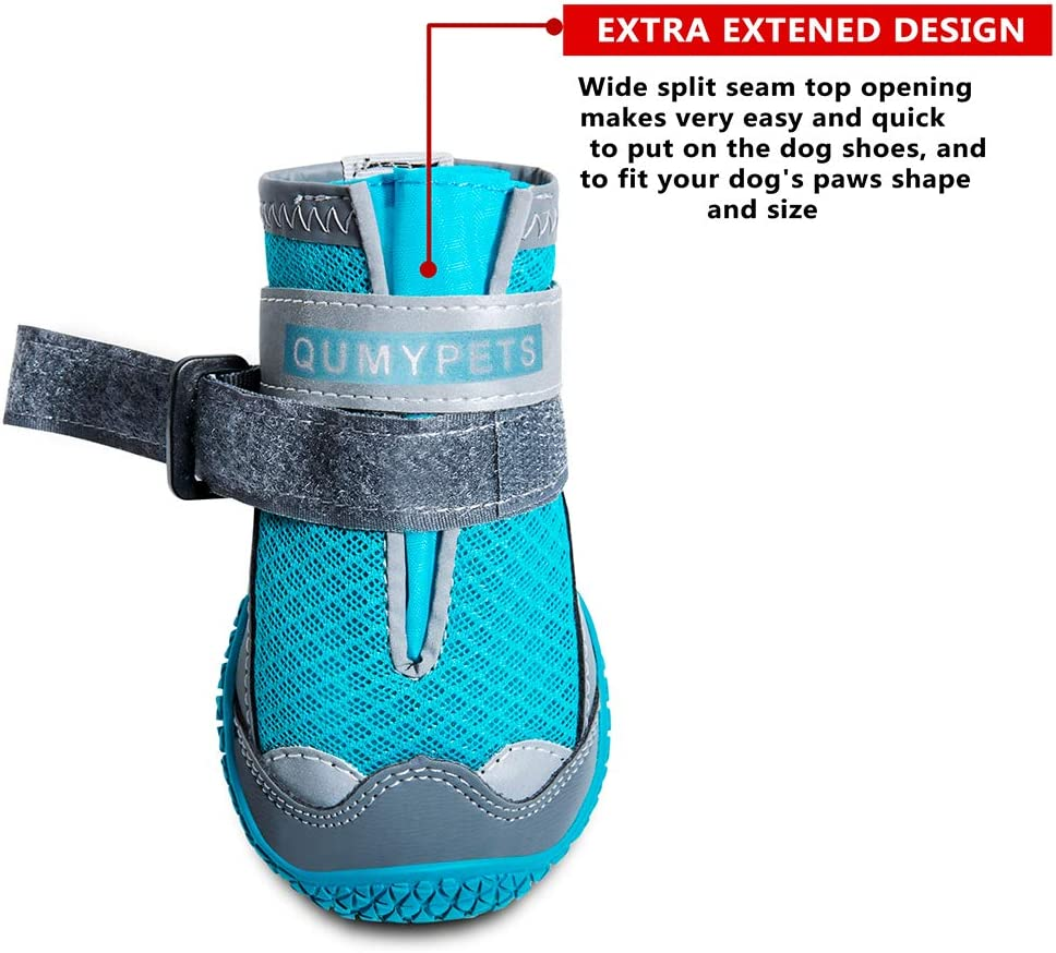 QUMY Dog Shoes for Hot Pavement Boots for Dogs Summer Booties Heat Protection Mesh Breathable Nonslip with Reflective and Adjustable Straps 4pcs