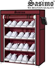 Sasimo Multipurpose Portable Folding Shoes Rack 4 Tiers Multi-Purpose Shoe Storage Organizer Cabinet Tower with Iron and Nonwoven Fabric with Zippered Dustproof Cover (Maroon)