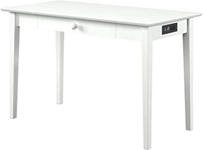 Atlantic Furniture Shaker Desk with Drawer and Charging Station, Whiter