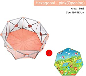 Baby Playpen Foldable Portable Breathable Safety Fence Prevent Collision Machine Washable Baby Products for Beach Playground Backyard Home Park  Color Pink  Size