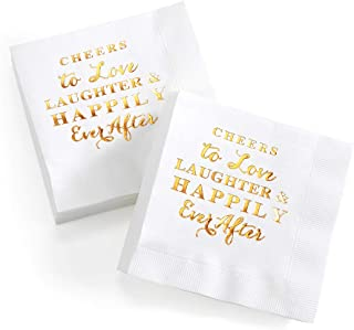 CQNET Love Laughter and Happily Ever After Wedding Cocktail Napkins Disposable and Bridal Shower Napkins 100pcs