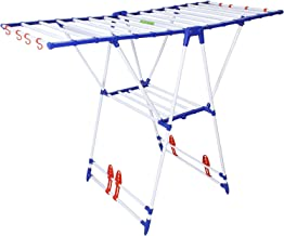 Flipzon Winsome Modular Cloth Dryer Stand - Pre-Assembled, Foldable (Make in India), Blue & White
