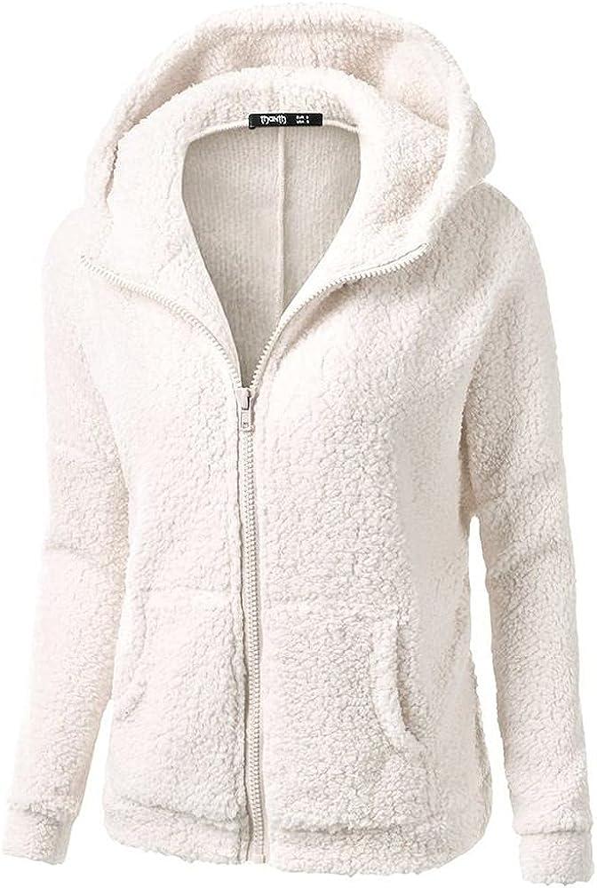 Women's Fuzzy Zipper jacket Coat Hooded Trench Outwear Winter Warm Windbreaker Wool Cotton Faux Fur Lined Overcoat Tops