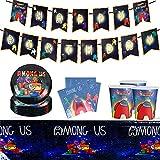 Decoracion de Among Us, 62 Piezas Juego de Vajilla para Fiestas, Incluye Mantel Banners Platos Vasos de Papel Servilletas Vajilla Decoración de Cumpleaños para