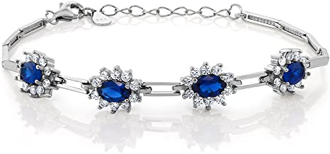 Gem Stone King 925 Sterling Silver Simulated Sapphire Women's Tennis Bracelet (2.36 Cttw, 7 Inch with 1 Inch Extender)