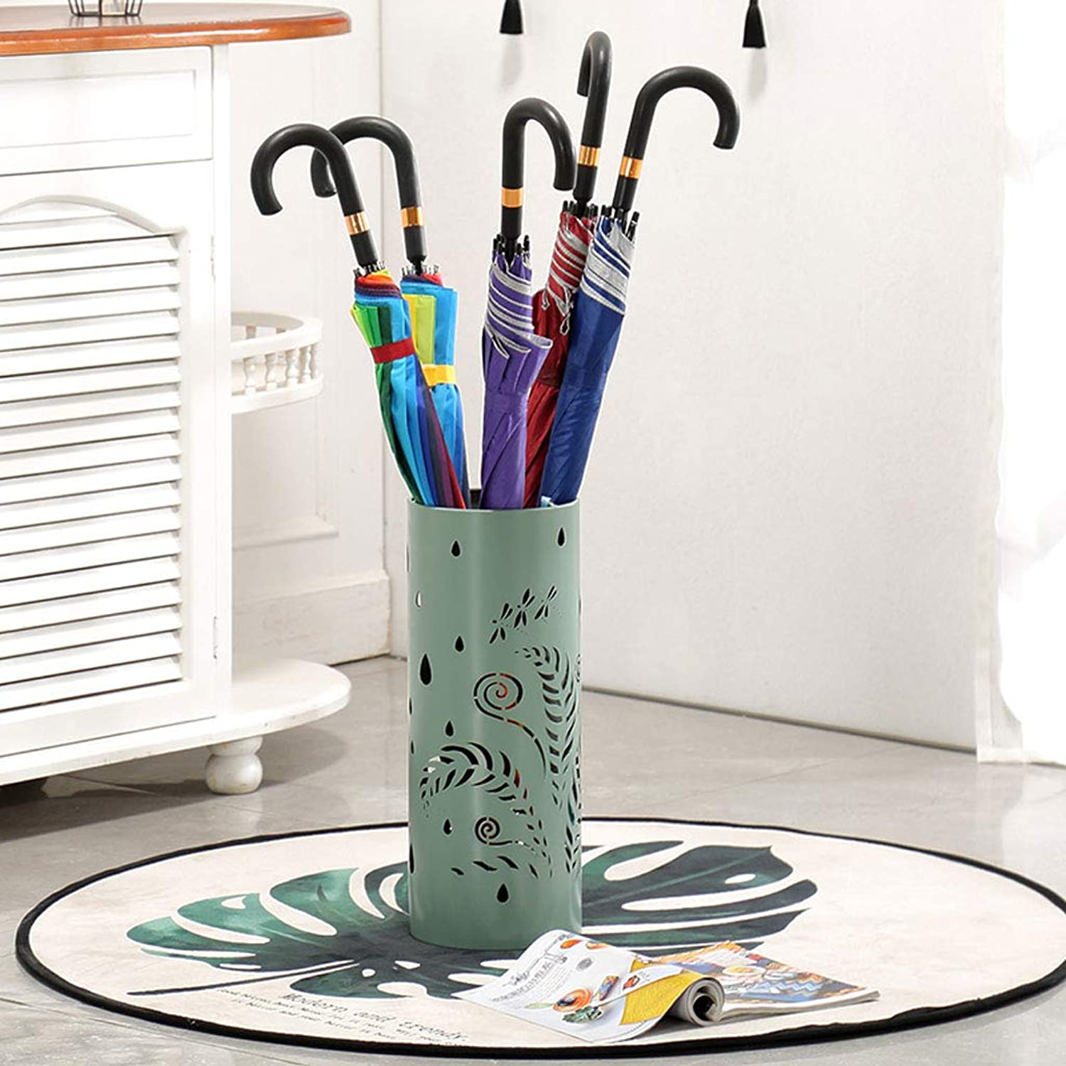 CS Nordic Wrought Iron Umbrella Stand Innovative Whole Board Cutting Umbrella Barrel Hotel Lobby Umbrella Stand Umbrella Stand Home (color   Dark Green)
