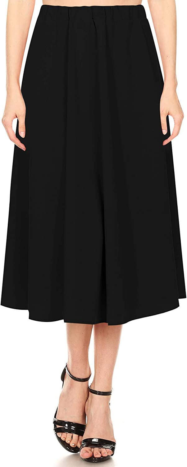 Women's Casual A-Line Pleated High Waist Elastic Band Solid Midi Skirt Made in USA S-3XL