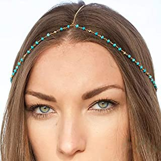 Leiorthrix Turquoise Head Chain Boho Pendant Headdress Wedding Head Piece Bridal Gypsy Hair Jewelry (Silver)