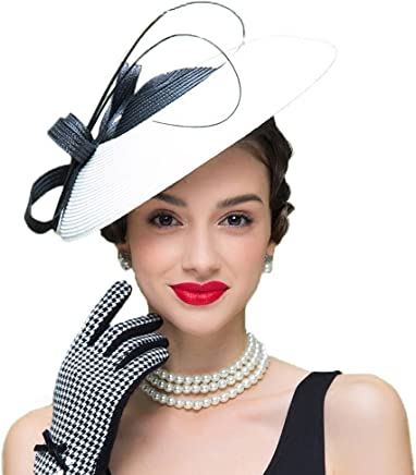 0802f84a265 FADVES Fascinators Pillbox Hat Weddings Women Straw Fedora Vintage Sinamay  Base Hats